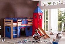 Dreams4Home Kinderbett Hochbett Spielbett Bett 'Aari rot/blau' 90 x 200 cm Buche massiv natur lackiert inklusive Rutsche Turm Vorhang, Ausführung:Bett inkl. Set (Turm. Vorhang)