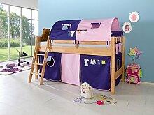Dreams4Home Kinderbett Hochbett Spielbett Bett 'Alizee' 90 x 200 cm Buche massiv natur lackiert opt mit Kleider Vorhang Tasche, Ausführung:Bett inkl. Set (Vorhang. 2 Tunnel. 2 Taschen)