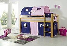 Dreams4Home Kinderbett Hochbett Spielbett Bett 'Alizee' 90 x 200 cm Buche massiv natur lackiert opt mit Kleider Vorhang Tasche, Ausführung:Bett inkl. Set (Vorhang)