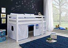 Dreams4Home Kinderbett Hochbett Spielbett Bett 'Delphin' 90x200 cm Buche massiv weiß lackiert opt mit Tunnel Turm Vorhang Tasche, Ausführung:Bett inkl. Set (Vorhang)