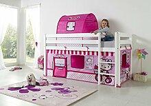 Dreams4Home Kinderbett Hochbett Spielbett Bett 'Hello Kitty' 90 x 200 cm Buche massiv weiß lackiert inklusive Vorhang Tunnel