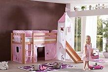 Dreams4Home Kinderbett Hochbett Spielbett Bett 'Maila Princess' 90 x 200 cm Buche massiv natur lackiert inklusive Rutsche Turm Vorhang, Ausführung:Bett inkl. Set (Turm. Vorhang)