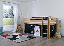 Dreams4Home Kinderbett Hochbett Spielbett Bett 'Pirat' 90 x 200 Buche massiv natur lackiert opt mit Tunnel Turm Vorhang Tasche, Ausführung:Bett inkl. Set (Vorhang)