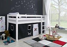 Dreams4Home Kinderbett Hochbett Spielbett Bett 'Pirat I' 90x200 cm Buche massiv weiß lackiert opt mit Tunnel Turm Vorhang Tasche, Ausführung:Bett inkl. Set (Vorhang)