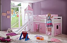 Dreams4Home Kinderbett Hochbett Spielbett Bett 'Sari Priness' 90 x 200 cm Buche massiv weiß lackiert inklusive Rutsche Turm Vorhang, Ausführung:Bett inkl. Set (Turm. Vorhang)