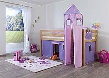 Dreams4Home Kinderbett Hochbett Spielbett Bett 'Steens purple/rosa' 90 x 200 cm Buche massiv natur lackiert opt mit Tunnel Turm Vorhang Tasche, Ausführung:Bett inkl. Set (Vorhang. Turm und Tasche)