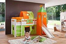 Dreams4Home Kinderbett Hochbett Spielbett Bett 'Taimi grün/orange' 90 x 200 cm Buche massiv weiß lackiert inklusive Rutsche Turm Vorhang, Ausführung:Bett inkl. Set (Turm. Tunnel. Vorhang)