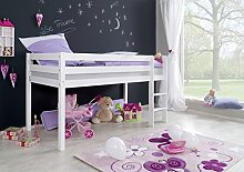 Dreams4Home Kinderbett Hochbett Spielbett Bett 'Timmy blau/rot' 90x200 cm Buche massiv weiß lackiert opt mit Tunnel Vorhang Tasche, Ausführung:Bett ohne Textilse