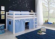 Dreams4Home Kinderbett Hochbett Spielbett Bett 'Timmy blau/boy' 90x200 cm Buche massiv weiß lackiert opt mit Tunnel Vorhang Tasche, Ausführung:Bett inkl. Set (Vorhang)