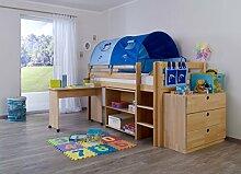 Dreams4Home Kinderbett Hochbett Spielbett Bett 'Trino Delphin' 90x200 cm Buche massiv natur lackiert inklusive Regal Kommode Schreibtisch & Textilse