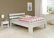 Dreams4Home Kinderbett Jugendbett Futonbett Einzelbett 'Saila' Eiche massiv weiß 90x200 140x200 180x200 cm, Größe:180 x 200 cm