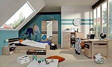 Dreams4Home Kinderzimmer Set 'Simba',Bett 90x200,inkl.Bettkasten,Schrank,Tisch,Schreibtisch,Eiche Sägerau, Größe:90 x 200 cm;Nachtkonsole:zwei Nachtkonsolen