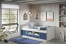 Dreams4Home Kojenbett 'Mirul' - Jugendbett, Kinderbett, Einzelbett, Hochbett, Bett, Maße: (B/H/T) 207 x 79 x 98 cm, Liegefläche: 90 x 200 cm, Kinderzimmer, Jugendzimmer, in vielen Farben, Farbe:Weiß-Blau