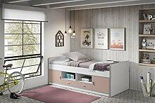 Dreams4Home Kojenbett 'Mirul' - Jugendbett, Kinderbett, Einzelbett, Hochbett, Bett, Maße: (B/H/T) 207 x 79 x 98 cm, Liegefläche: 90 x 200 cm, Kinderzimmer, Jugendzimmer, in Vielen Farben, Farbe:Rosa