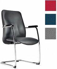 Dreams4Home Konferenzstuhl 'Wave', Schwarz, Rot, Grau o. Blau, Besuchersessel Freischwinger Sessel Stuhl, Farbe:grau