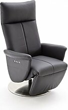 Dreams4Home Leder Relax Sessel 'Ozzy' - Relaxsessel, Sessel, Relaxer, TV-Sessel, elektronisch verstellbar, mit Kippfunktion, mit Fußstütze, in schwarz, Gestell in Metall, belastbar bis 130 kg
