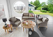 Dreams4Home Lounge Set 'Miami II' 5-teilig Loungesessel Rattan Tisch rund Sofa Polster