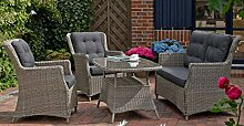 Dreams4Home Lounge Set 'Oxford' 4-teilig Loungesessel Rattan Tisch 2er-Sofa Polster