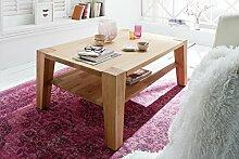 Dreams4Home Massivholz Couchtisch 'Jasper II' - Tisch, Sofatisch, Beistelltisch, Wohnzimmertisch, mit Ablageboden, auf Rollen, Belastbarkeit max. 50 kg, B/T/H: 110 x 70 x 40 cm, in Kernbuche geöl