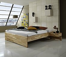 Dreams4Home Massivholzbett 'Marseille', Bett, Massivholz, Kernbuche, natur, 140, 160, 180, 200x200 cm, Doppelbett, Liegefläche:200x200 cm;Nachtkonsole:ohne Nachtkonsolen