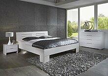Dreams4Home, Massivholzbett, Bett, Massivholz, Buche 'Modena' 90, 100, 120, 140, 160, 180, 200x200 cm, weiß gebeizt, Liegefläche:180x200 cm
