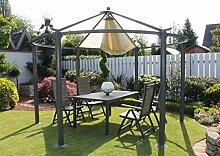 Dreams4Home Pavillon 'Capua X', Terrassenüberdachung, Pergola, Terrassendach, Sonnendach, Überdachung, Durchmesser: ca. 360 cm, Garten, in anthrazi