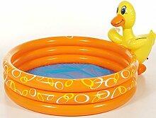Dreams4Home Planschbecken 'Duck' - Pool, Kinderpool, Schwimmbecken, phtalatfrei, Größe: ø 150 cm, Garten, Camping, Balkon, Terrasse, in orange, mit Gartenschlauch Anschluß