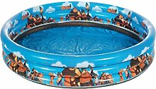 Dreams4Home Planschbecken 'Wickie' - Pool, Kinderpool, Schwimmbecken, phtalatfrei, mit Wickie Motiven, ø 120, ø 140, ø 170 cm, Höhe: 30 cm, Garten, Camping, Balkon, Terrasse, in blau, Größe:Ø 140 cm