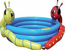 Dreams4Home Planschbecken 'Würmli' - Pool, Kinderpool, Schwimmbecken, phtalatfrei, Poolhöhe: 33 cm, Garten, Camping, Balkon, Terrasse, in blau, rot, grün, mit Gartenschlauch Anschluß