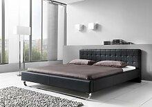 Dreams4Home Polsterbett mit Kunstlederbezug 'Avenue' 160, 180x200 cm, Schwarz, Liegefläche:180x200 cm