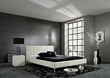 Dreams4Home Polsterbett mit Kunstlederbezug 'Bali', 100,120,140,160, 180x200 cm, Weiß, Liegefläche:120x200 cm