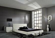 Dreams4Home Polsterbett mit Kunstlederbezug 'Seattle', 100,140,160,180, 200x200 cm, Weiß, Liegefläche:140x200 cm
