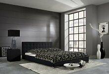 Dreams4Home Polsterbett mit Kunstlederbezug 'Seattle', 100,140,160,180, 200x200 cm, Schwarz, Liegefläche:160x200 cm