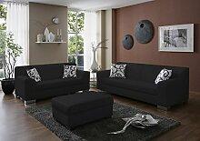 Dreams4Home Polstergarnitur 'Sol', schwarz, Kunstleder, Polstermöbel, Wohnzimmer, Sitzmöbel, Couch, 3 Sitzer, 2 Sitzer, Hocker