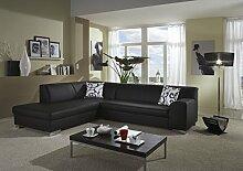 Dreams4Home Polstersofa, Ecksofa 'Sol', schwarz, Kunstleder, Polstermöbel, Wohnzimmer, Sitzmöbel, Couch, Aufbauvariante:Recamiere links davorstehend