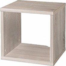Dreams4Home Regal 'Faro' weiß Sonoma Eiche 35 x 30,5 x 32,5 cm Raumteiler Holz Bücherregal Hängeregal Beistelltisch, Farbe:Weiß