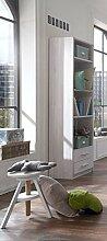 Dreams4Home Regal 'Holmes' - Regalschrank, Aufbewahrung, B/H/T: 47 x 197 x 38 cm, 3 Einlegeböden, 2 Schubkästen, Babyzimmer, Kinderzimmer, in Weißeiche Nachbildung - Absätze in Ice White