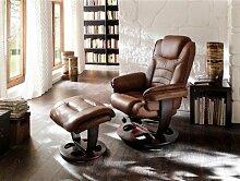 Dreams4Home Relaxsessel 'Barcelona' mit Hocker, in braun, Leder,max. 150 kg, Fernsehesessel, Wohnzimmer, Sessel, Relaxer, TV-Sessel