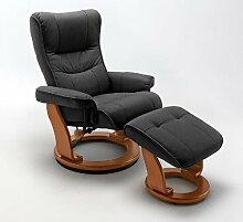 Dreams4Home Relaxsessel 'Maverick' mit Hocker, in versch. Farben, max. 150 kg, Fernsehesessel, Wohnzimmer, Sessel, Relaxer, TV-Sessel, Farbe:Schwarz