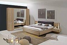 Dreams4Home Schlafzimmer 'Michigan' - 5trg. Kleiderschrank, Spiegeltür, Bett 180 x 200 cm, 2 x Nachtkonsole, Wandboard, ohne Matratze, ohne Lattenrost, in Eiche teilmassiv, furniert, Schrankzusatzteile:mit Krawatten-Gürtelhalter