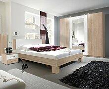 Dreams4Home Schlafzimmer Set 'Chiro' - Kleiderschrank, Schrank, 2 Spiegeltüren, 2 Holztüren, 2xNaKo´s, Bett 180x 200 cm, 1 Kleiderstange, 5 Einlegeböden, ohne Matratzen, ohne Lattenrost, in Sonoma - weiß, Schubkastenkommode:mit Schubkastenkommode