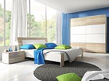 Dreams4Home Schlafzimmer Set 'Jamie' - Schwebetürenschrank, 2x NaKo´s, Bett , 1 Kleiderstange, 5 Einlegeböden, ohne Matratzen, ohne Lattenrost, Schlafzimmer komplett, in Sonoma Eiche hell / weiß