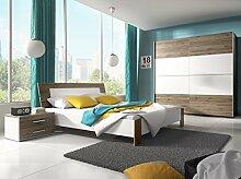 Dreams4Home Schlafzimmer Set 'Rico' - Schwebetürenschrank, 2x NaKo´s, Bett , 1 Kleiderstange, 5 Einlegeböden, ohne Matratzen, ohne Lattenrost, Schlafzimmer komplett, in San Remo Eiche dunkel / weiß