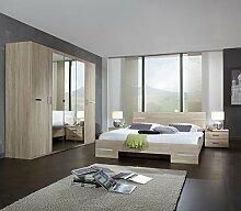 Dreams4Home Schlafzimmerkombination 'Avicio Classic', Schrank, Bett, Schlafzimmer Set, Eiche sägerau, Farbe:Weiß;Schrankzusatzteile:mit 3 Einlegeböden - groß