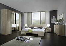 Dreams4Home Schlafzimmerkombination 'Avicio V', Schrank, Bett, Schlafzimmer komplett, Schlafzimmer Set, Eiche sägerau, Schrankzusatzteile:mit 3 Einlegeböden - groß
