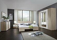 Dreams4Home Schlafzimmerkombination 'Prime', Kleiderschrank, 4-türig, Futonbett, Nachtschränke, Kombikommode, Eiche sägerau, weiß, Liegefläche:180x200 cm