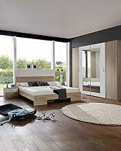 Dreams4Home Schlafzimmerkombination 'Prime XI', Schlafzimmer, Kleiderschrank, 4-türig, Bett, Futonbett, Nachtschränke, Eiche sägerau, weiß, Spiegelschrank, Liegefläche:160x200 cm