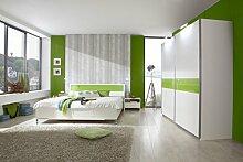 Dreams4Home Schlafzimmerset 'Saranio II' inkl. Schrank,Bett 180x200,2 x Nachtschrank,Alpinweiß,mit Glasabsatz Grün, Schrankzusatzteile:mit 2 Einlegeböden - groß;Schrankbeleuchtung:ohne Innenbeleuchtung