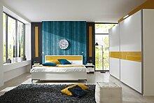 Dreams4Home Schlafzimmerset 'Saranio III' inkl. Schrank,Bett 180x200,2 x Nachtschrank,Alpinweiß,mit Glasabsatz Gelb, Schrankzusatzteile:mit Wäscheeinteilung;Schrankbeleuchtung:ohne Außenbeleuchtung