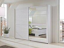 Dreams4Home Schwebetürenschrank 'Sylt', Schlafzimmer, Schrank, Eiche, weiß, Weißeiche, mit Spiegel, Spiegelschrank, Breite:225 cm